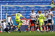 The Bolton Wanderers wall stands strong as Derby County midfielder Bradley Johnson (15) fires the free kick into it during the EFL Sky Bet Championship match between Bolton Wanderers and Derby County at the Macron Stadium, Bolton, England on 19 August 2017. Photo by Craig Galloway.