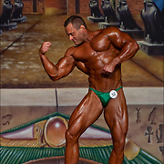 On stage during the Europa Bodybuilding Physique Competition in Atlantic City at the Convention Center for the 2015 Europa Games, Get Fit &amp; Sports Expo. <br /> <br /> In competitive amateur and professional bodybuilding, bodybuilders appear in lineups doing specified poses, and later perform individual posing routines, for a panel of judges who rank competitors based on criteria such as symmetry, muscularity and conditioning.
