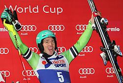 06.01.2014, Stelvio, Bormio, ITA, FIS Ski Alpin Weltcup, Bormio, Salom, Herren, Siegerpraesentation, im Bild Felix Neureuther (GER, 1 Platz) // 1st place Felix Neureuther of Germany celebrate on Podium after mens Slalom of the Bormio FIS Ski World Cup at the Stelvio Course in Bormio, Italy on 2014/01/06. EXPA Pictures © 2014, PhotoCredit: EXPA/ Sammy Minkoff<br /> <br /> *****ATTENTION - OUT of GER*****