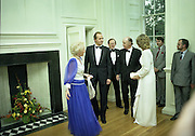 State Visit of King Juan Carlos and Queen Sophia of Spain to Ireland.<br /> 1986.<br /> 30.06.1986<br /> 06.30.1986.<br /> 30th June 1986.<br /> King Juan Carlos and Queen Sophia paid a state visit to Ireland at the invitation of President Hillery and the Irish people.<br /> The duration of the visit was three days.<br /> <br /> Picture taken back at Áras an Uachtaráin as the Royal Couple and the President and Mrs Hillery prepare for the state banquet..