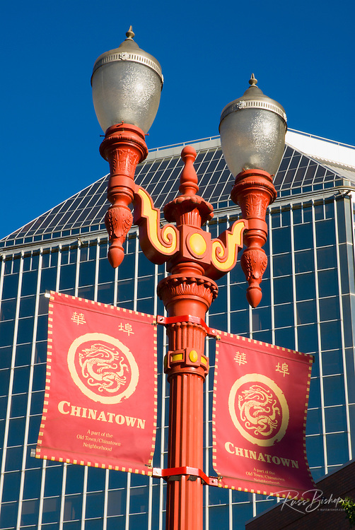 Red streetlamps and banners in Chinatown, Portland, Oregon USA