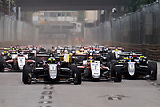Start of the F3 race led by Joel ERIKSSON, Motopark with VEB, Dallara Volkswagen, Callum ILOTT, SJM Theodore Racing by Prema, Dallara Mercedes, Sérgio Sette CÂMARA, Motopark with VEB, Dallara Volkswagen<br /> <br /> 64th Macau Grand Prix. 15-19.11.2017.<br /> Suncity Group Formula 3 Macau Grand Prix - FIA F3 World Cup<br /> Macau Copyright Free Image for editorial use only