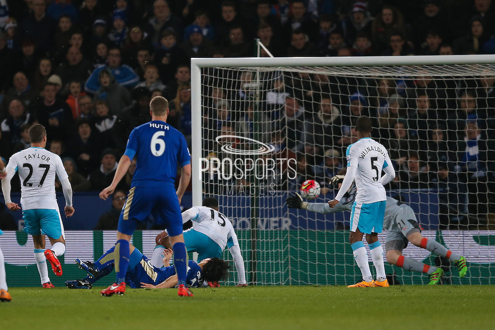 Leicester City forward Shinji Okazaki (20) scores a goal and celebrates to make the score 1-0 during the Barclays Premier League match between Leicester City and Newcastle United at the King Power Stadium, Leicester, England on 14 March 2016. Photo by Simon Davies.