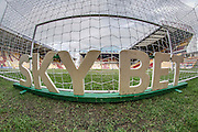 General view of the stadium before the game with the Sky Bet sign advertising behind the goal before the EFL Sky Bet League 1 match between Bradford City and Bolton Wanderers at the Coral Windows Stadium, Bradford, England on 18 February 2017. Photo by Mark P Doherty.