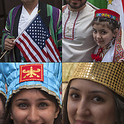 Head and shoulder portraits of smiling Iranian Americans dressed in transitional folk costume from Persia and Iran showing their ethnic pride, before the start of the 2015  Persian Iranian Parade in New York