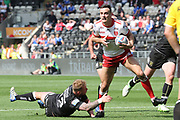 Hull Kingston Rovers winger Craig Hall (2) tries to make the try line during the Betfred Super League match between Hull FC and Hull Kingston Rovers at Kingston Communications Stadium, Hull, United Kingdom on 19 April 2019.