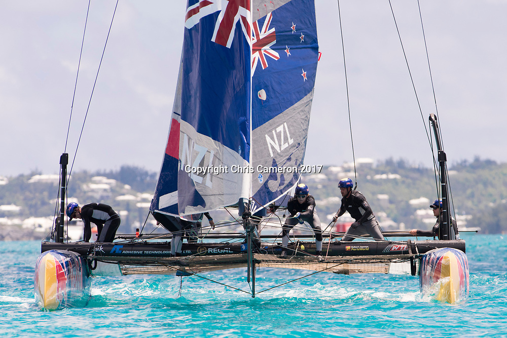 The Great Sound, Bermuda, 20th June 2017, Red Bull Youth America's Cup Finals. Race one. NZL Sailing Team.
