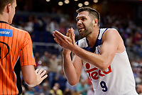 Real Madrid's Felipe Reyes talking with the referee during semi finals of playoff Liga Endesa match between Real Madrid and Unicaja Malaga at Wizink Center in Madrid, June 02, 2017. Spain.<br /> (ALTERPHOTOS/BorjaB.Hojas)