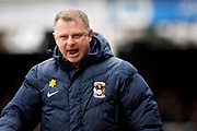 Coventry City manager Mark Robins celebrates the first goal during the EFL Sky Bet League 1 match between Peterborough United and Coventry City at London Road, Peterborough, England on 16 March 2019.