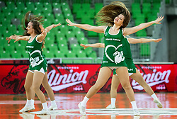 Cheerleaders Green Ladies perform during basketball match between KK Petrol Olimpija and KK Rogaska in Round #5 of Liga Nova KBM za prvaka 2018/19, on March 31, 2019, in Arena Stozice, Ljubljana, Slovenia. Photo by Vid Ponikvar / Sportida