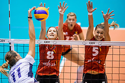 227-08-2017 NED: World Qualifications Greece - Belgium, Rotterdam<br /> Belgi&euml; verslaat Griekenland met 3-0 / Anthi Vasilantonaki #11 of Greece, Kaja Grobelna #8 of Belgium, Laura Heyrman #5 of Belgium