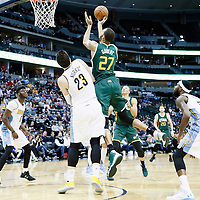 20 November 2016: Utah Jazz center Rudy Gobert (27) goes for the jump shot over Denver Nuggets center Jusuf Nurkic (23) during the Denver Nuggets 105-91 victory over the Utah Jazz, at the Pepsi Center, Denver, Colorado, USA.