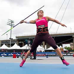 adidas Grand Prix Diamond League professional track & field meet: womens javelin throw, Brittany Borman, USA