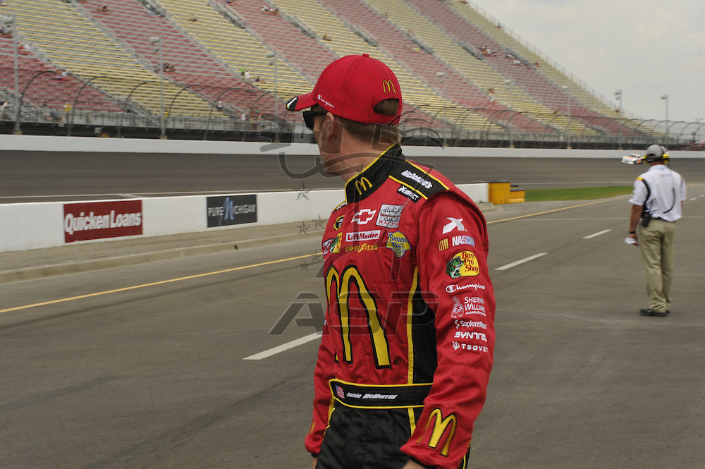 Brooklyn, MI - JUN 16, 2012: Jamie McMurray readies for his qualifying runs for the Quicken Loans 400 race at the Michigan International Speedway in Brooklyn, MI.