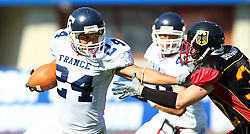 16.07.2011, Ernst Happel Stadion, Wien, AUT, American Football WM 2011, Germany (GER) vs France (FRA), im Bild Karl Michel (Germany, #32, DB) tries to stop Jérémy Larroque   (France, #24, REC )  // during the American Football World Championship 2011 game, Germany vs France, at Ernst Happel Stadion, Wien, 2011-07-16, EXPA Pictures © 2011, PhotoCredit: EXPA/ T. Haumer