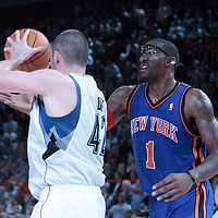 06 October 2010: New York Knicks forward Amare Stoudemire #1 fights for a rebound against Minnesota Timberwolves forward Kevin Love #42 during the Minnesota Timberwolves 106-100 victory over the New York Knicks, during 2010 NBA Europe Live, at the POPB Arena in Paris, France.
