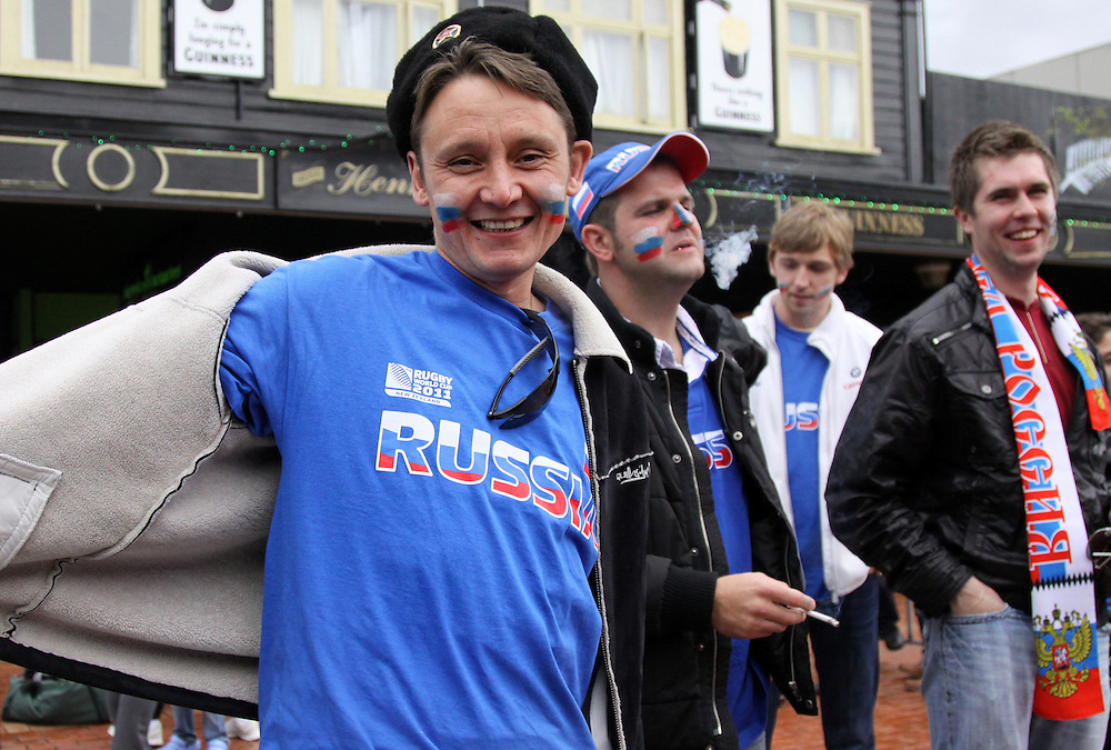 Russian fans party in Rotorua's main street before game against Ireland, Rotorua, New Zealand, Sunday, September 25, 2011. Credit SNPA / Peter Graney.