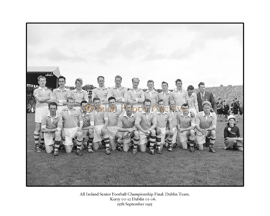 All Ireland Senior Football Championship Final, 25.09.1955, 09.25.1955, 25th September 1955, Kerry 00-12 Dublin 01-06, 25091955AISFCF,..Dublin Team, P O'Flaherty, D Mahony (capt), J Lavin, M Moylan, Maurice Whelan, J Crowley, N Maher, J McGuinness, C O'Leary, D Ferguson, O Freaney, J Boyle, P Haughey, K Heffernan, C Freaney, Subs, T Jennings for McGuinness, W Monks for Jennings,.