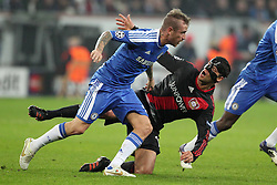 23.11.2011, BayArena, Leverkusen, Germany, UEFA CL, Gruppe E, Bayer 04 Leverkusen (GER) vs Chelsea FC (ENG), im Bild Michael Ballack (Leverkusen #13) gegen Raul Meireles (Chelsea #16) // during the football match of UEFA Champions league, group E, between Bayer Leverkusen (GER) and FC Chelsea (ENG) at BayArena, Leverkusen, Germany on 2011/11/23.EXPA Pictures © 2011, PhotoCredit: EXPA/ nph/ Mueller..***** ATTENTION - OUT OF GER, CRO *****