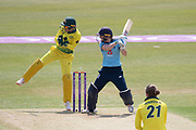 Heather Knight hits Jessica Jonassen for 4 during the Royal London Women's One Day International match between England Women Cricket and Australia at the Fischer County Ground, Grace Road, Leicester, United Kingdom on 4 July 2019.