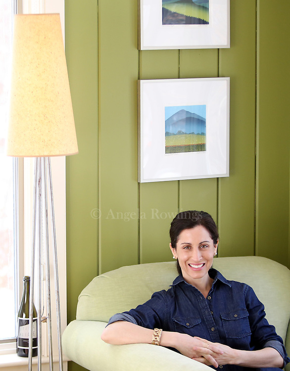 """(Chatham, MA - 3/10/15) Lisa Genova, author of """"Still Alice""""  and """"Inside the O'Briens,"""" is seen in her home office, Tuesday, March 10, 2015. Staff photo by Angela Rowlings."""