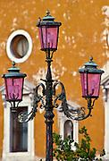 Ornate street lamp in Venice, Italy