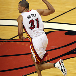 Jun 21, 2012; Miami, FL, USA; Miami Heat small forward Shane Battier (31) reacts after making a three point shot against the Oklahoma City Thunder during the first quarter in game five in the 2012 NBA Finals at the American Airlines Arena. Mandatory Credit: Derick E. Hingle-US PRESSWIRE