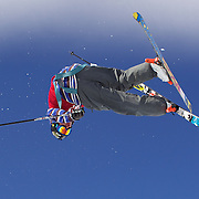 David Wise, USA, in action during his second place finish in the Men's Halfpipe Finals during The North Face Freeski Open at Snow Park, Wanaka, New Zealand, 3rd September 2011. Photo Tim Clayton..
