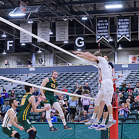 3rd year outside hitter Brennan Goski (13) of the Regina Cougars in action during the Men's Volleyball Home Game vs Trinity Western  on October 28 at the CKHS University of Regina. Credit Matt Johnson/Arthur Images