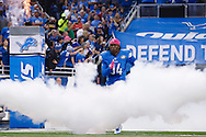 Detroit Lions defensive end Ezekiel Ansah (94) during player introductions prior to an NFL football game against the Arizona Cardinals at Ford Field in Detroit, Sunday, Oct. 11, 2015. (AP Photo/Rick Osentoski)