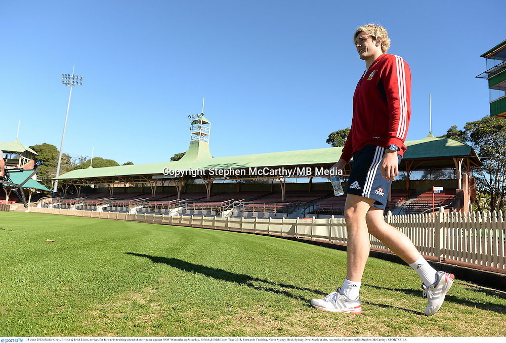 13 June 2013; Richie Gray, British & Irish Lions, arrives for forwards training ahead of their game against NSW Waratahs on Saturday. British & Irish Lions Tour 2013, Forwards Training, North Sydney Oval, Sydney, New South Wales, Australia. Picture credit: Stephen McCarthy / SPORTSFILE