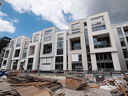 New luxury apartment buildings under construction at Marthashof in bohemian Prenzlauer Berg in Berlin Germany