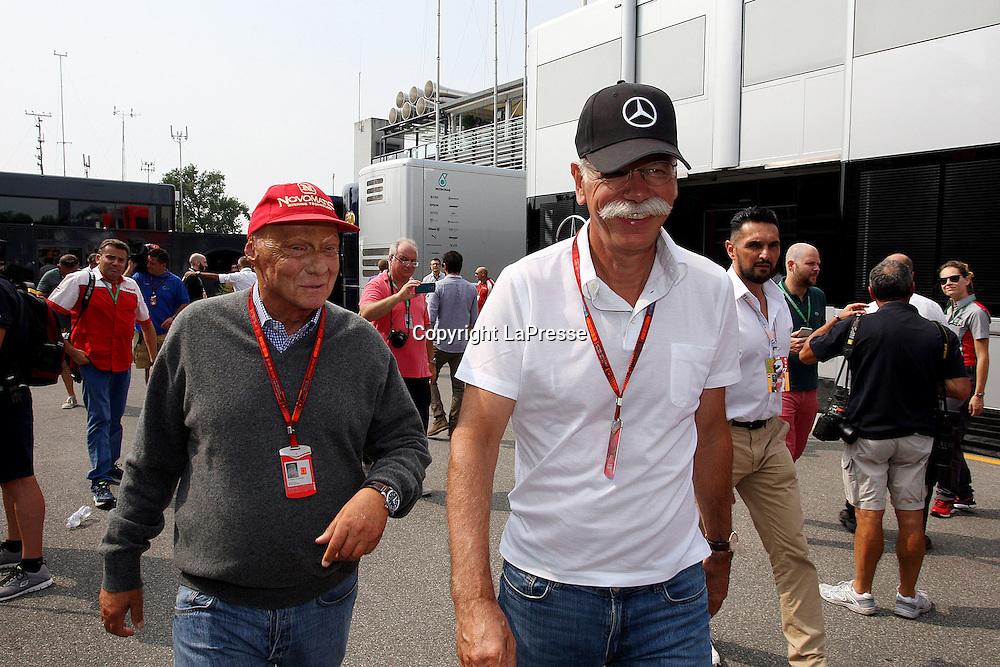 &copy; Photo4 / LaPresse<br /> 04/09/2016 Monza, Italy<br /> Sport <br /> Grand Prix Formula One Italia 2016<br /> In the pic: Dr. Dieter Zetsche, Chairman of Daimler and Nikki Lauda (AU), Mercedes