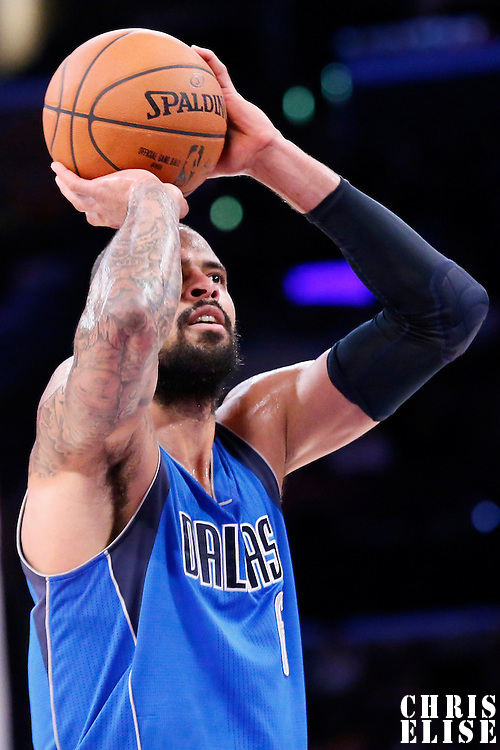 12 April 2014: Dallas Mavericks center Tyson Chandler (6) takes a jump shot during the Dallas Mavericks 120-106 victory over the Los Angeles Lakers, at the Staples Center, Los Angeles, California, USA.