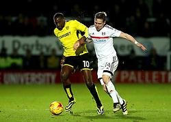Lucas Akins of Burton Albion takes on Stefan Johansen of Fulham - Mandatory by-line: Robbie Stephenson/JMP - 01/02/2017 - FOOTBALL - Pirelli Stadium - Burton Upon Trent, England - Burton Albion v Fulham - Sky Bet Championship