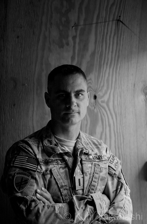 Lt. Andrew Docksey, 41, of West Band, Wisconsin .432 Civil Affairs Battalion.at COP Sabari in Khost, Afghanistan on Aug 11, 2011.((Photo by Kuni Takahashi)