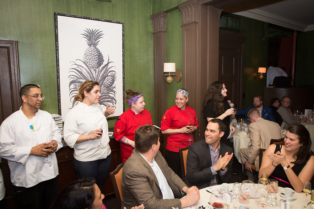 New York, NY - March 26, 2018: Chef Stacy Cogswell of The Inn at Hastings Park presents dinner at the James Beard House in Greenwich Village.<br /> <br /> CREDIT: Clay Williams for The James Beard Foundation.<br /> <br /> &copy; Clay Williams / http://claywilliamsphoto.com