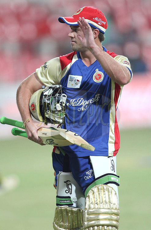 AB de Villiers of Royal Challengers Bangalore during match 1 of the NOKIA Champions League T20 ( CLT20 )between the Royal Challengers Bangalore and the Warriors held at the  M.Chinnaswamy Stadium in Bangalore , Karnataka, India on the 23rd September 2011..Photo by Shaun Roy/BCCI/SPORTZPICS
