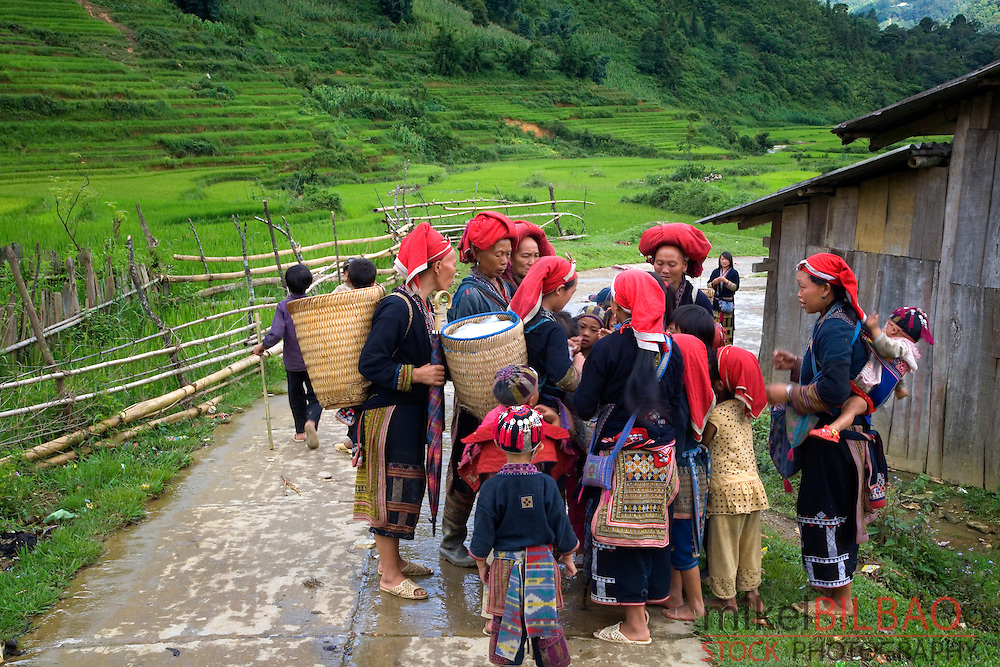 Red Dzao ethnic group in Ta Phin village.<br /> Sapa, Lao Cai province, Vietnam