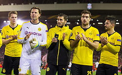 14.04.2016, Anfield Road, Liverpool, ENG, UEFA EL, FC Liverpool vs Borussia Dortmund, Viertelfinale, Rueckspiel, im Bild vl: Matthias Ginter (Borussia Dortmund #28), Torwart Roman Weidenfeller (Borussia Dortmund #1), Nuri Sahin (Borussia Dortmund #18) Sokratis (Borussia Dortmund #25) und Ilkay Guendogan (Borussia Dortmund #8) enttaeuscht nach dem Abpfiff // during the UEFA Europa League Quaterfinal, 2nd Leg match between FC Liverpool vs Borussia Dortmund at the Anfield Road in Liverpool, Great Britain on 2016/04/14. EXPA Pictures &copy; 2016, PhotoCredit: EXPA/ Eibner-Pressefoto/ Schueler<br /> <br /> *****ATTENTION - OUT of GER*****