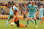 Wolverhampton Wanderers midfielder Ivan Cavaleiro (50) is tackled by Burton Albion defender John Brayford (3) 1-0 during the EFL Sky Bet Championship match between Wolverhampton Wanderers and Burton Albion at Molineux, Wolverhampton, England on 10 September 2016. Photo by Alan Franklin.