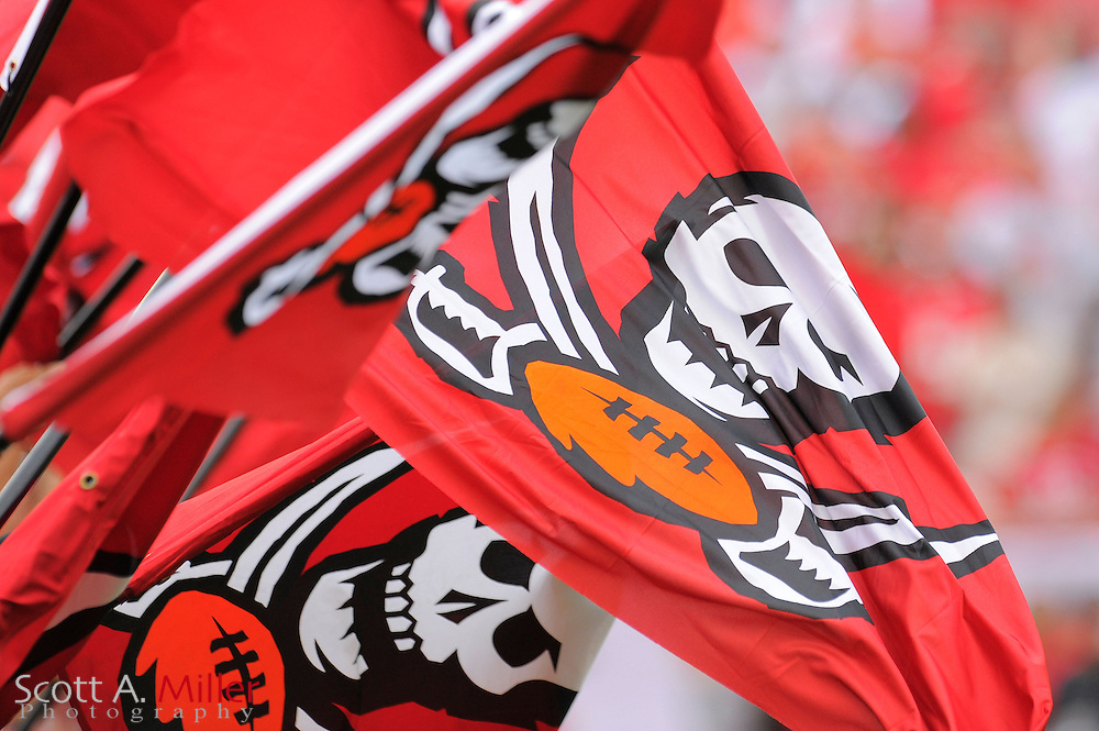 Tampa Bay Buccaneers flags during the Bucs game against the Carolina Panthers at Raymond James Stadium  on September 9, 2012 in Tampa, Florida.  The Bucs won 16-10..©2012 Scott A. Miller...
