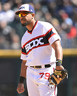 CHICAGO - APRIL 22:  Jose Abreu #79 of the Chicago White Sox looks on against the Houston Astros on April 22, 2018 at Guaranteed Rate Field in Chicago, Illinois.  (Photo by Ron Vesely)   Subject:   Jose Abreu