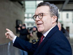 © Licensed to London News Pictures. 24/02/2019. London, UK. Deputy Leader of the Labour Party Tom Watson MP arrives at BBC Broadcasting House to appear on The Andrew Marr Show. Photo credit: Rob Pinney/LNP
