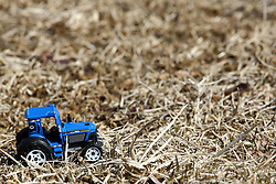 14 March 2008:   A small blue toy tractor navigates the scrub grass at a park accidentally left behind by its young owner.
