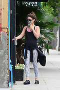 25.MAY.2013. LOS ANGELES<br /> <br /> VANESSA HUDGENS HIDES HER FACE AS SHE ARRIVES FOR A YOGA CLASS<br /> <br /> BYLINE: EDBIMAGEARCHIVE.CO.UK<br /> <br /> *THIS IMAGE IS STRICTLY FOR UK NEWSPAPERS AND MAGAZINES ONLY*<br /> *FOR WORLD WIDE SALES AND WEB USE PLEASE CONTACT EDBIMAGEARCHIVE - 0208 954 5968*