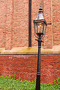 Brick wall and lamp at the Old North Church on the Freedom Trail, Boston, Massachusetts