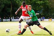 HEERHUGOWAARD - 02-07-2016, oefenwedstrijd, SVW - AZ , sportpark de Kabel, AZ speler Derrick Luckassen, SVW speler Jeroen Korver.