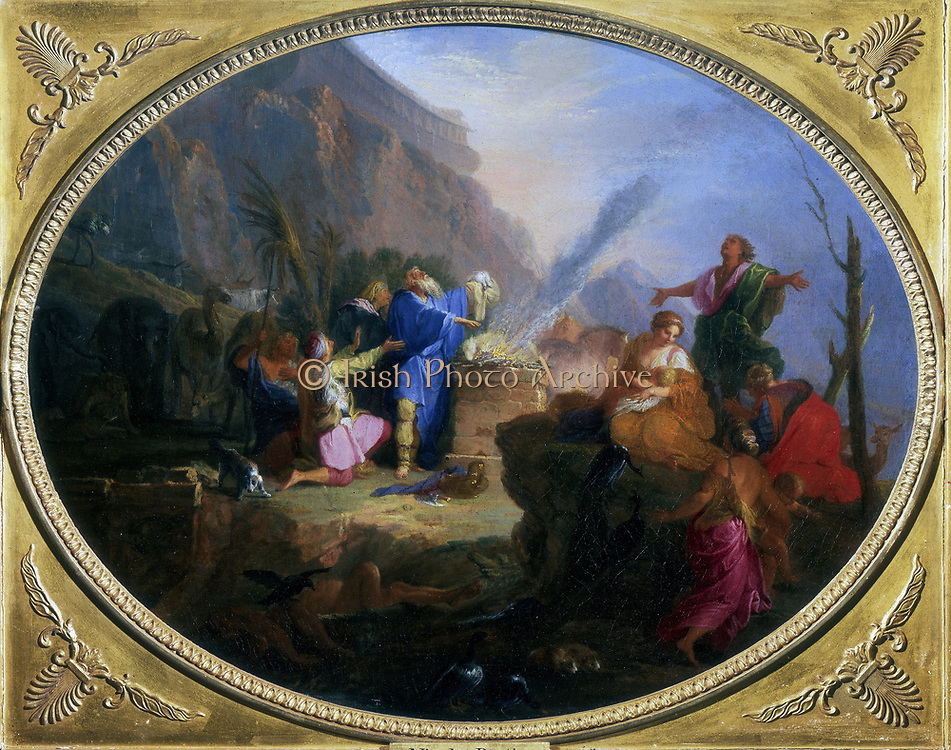Noah's Sacrifice in thanks for deliverance from the flood.  Nicolas Bertin (1668-1736). Private collection.