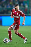 Wisla's Mariusz Stepinski controls the ball during T-Mobile ExtraLeague soccer match between Legia Warsaw and Wisla Krakow in Warsaw, Poland.<br /> <br /> Poland, Warsaw, March 15, 2015<br /> <br /> Picture also available in RAW (NEF) or TIFF format on special request.<br /> <br /> For editorial use only. Any commercial or promotional use requires permission.<br /> <br /> Mandatory credit:<br /> Photo by © Adam Nurkiewicz / Mediasport